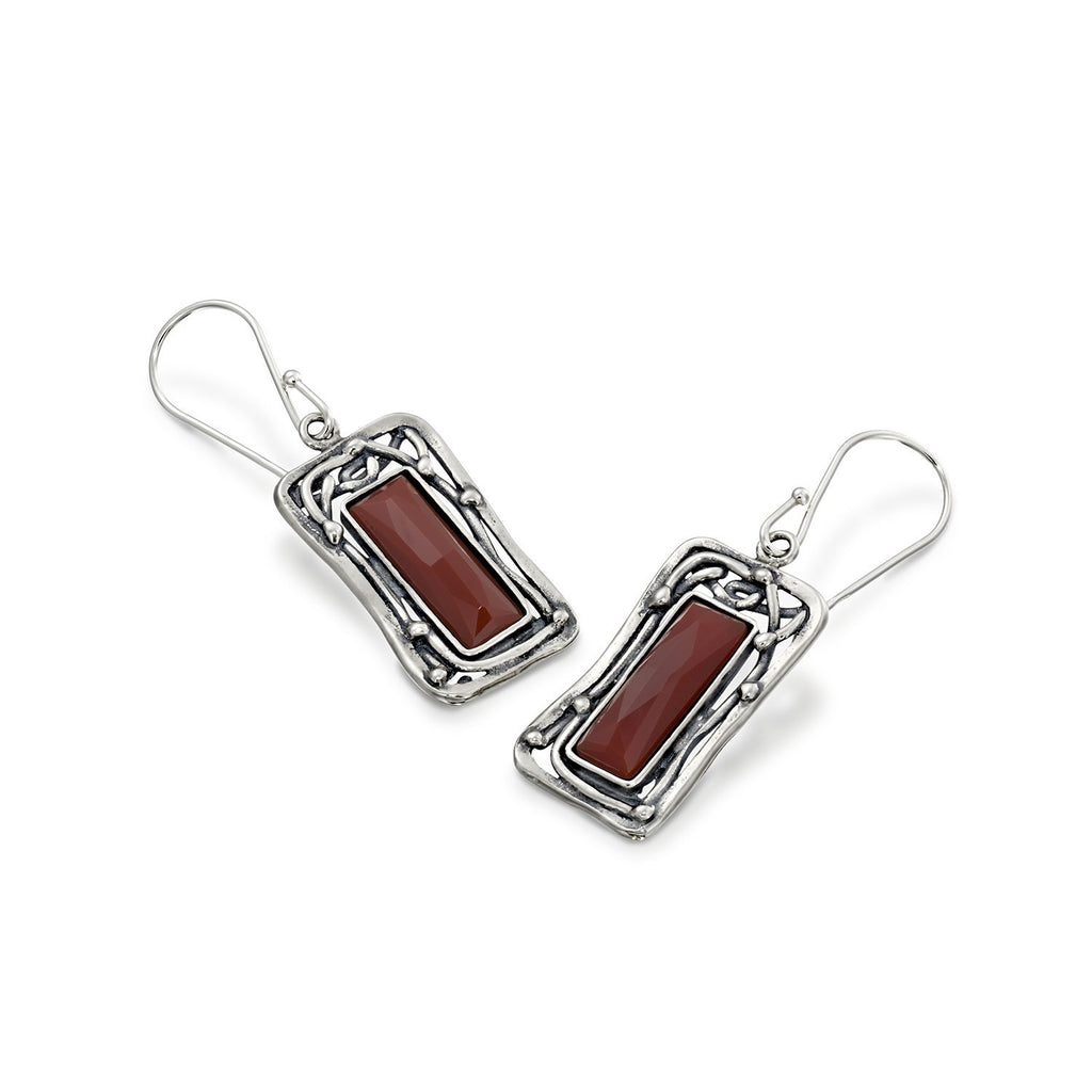 Retro Vintage Style 925 Sterling Silver Choice of Gemstone Ornate Rectangle Women's Dangle Earrings