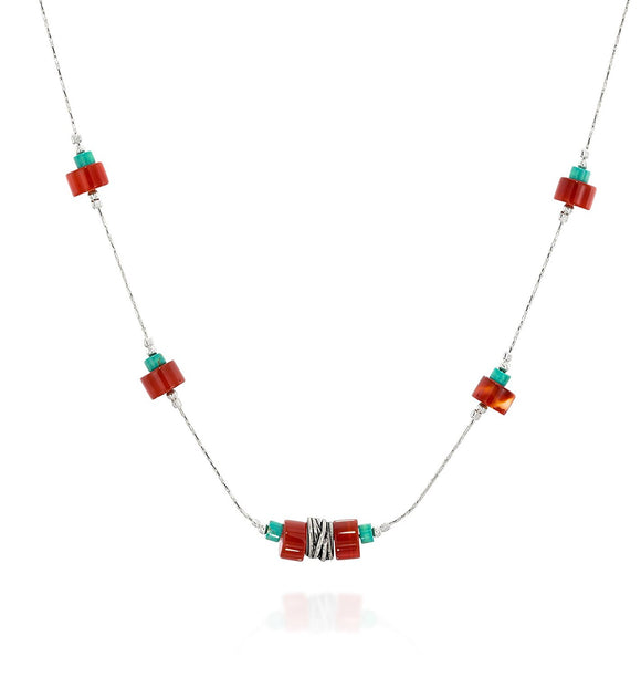 Turquoise and Carnelian 925 Sterling Silver Necklace Contemporary Women's Jewelry, 18