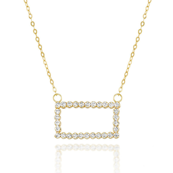 Original Swarovski Rectangle Crystal Necklace Gold or Silver, 18