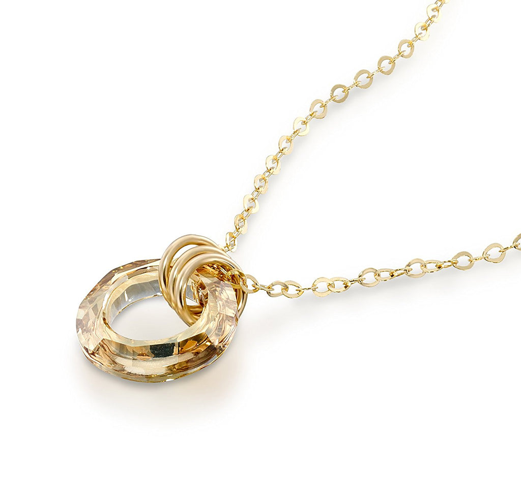 "Golden Shadow Swarovski Cosmic Ring Crystal Pendant Necklace, 18""+4"" Extender"