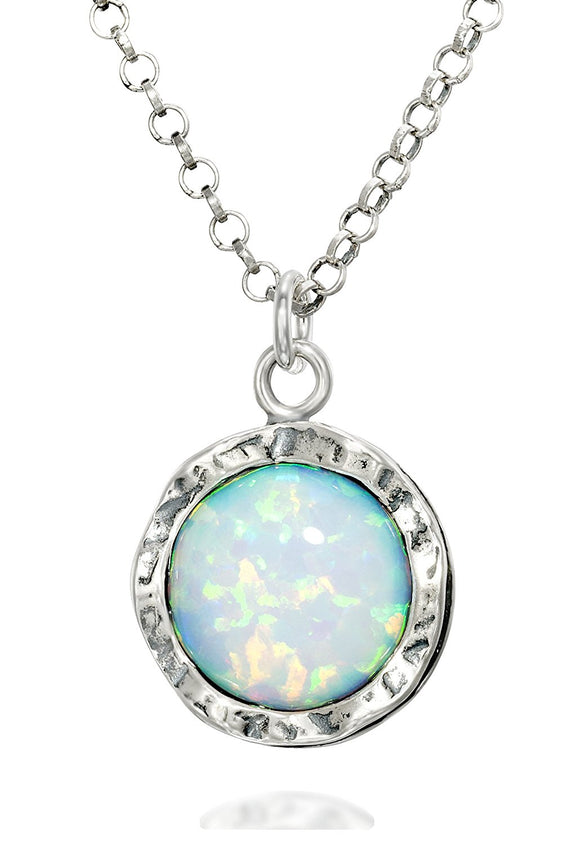 925 Sterling Silver 10mm White Opal Round Pendant Necklace, 18