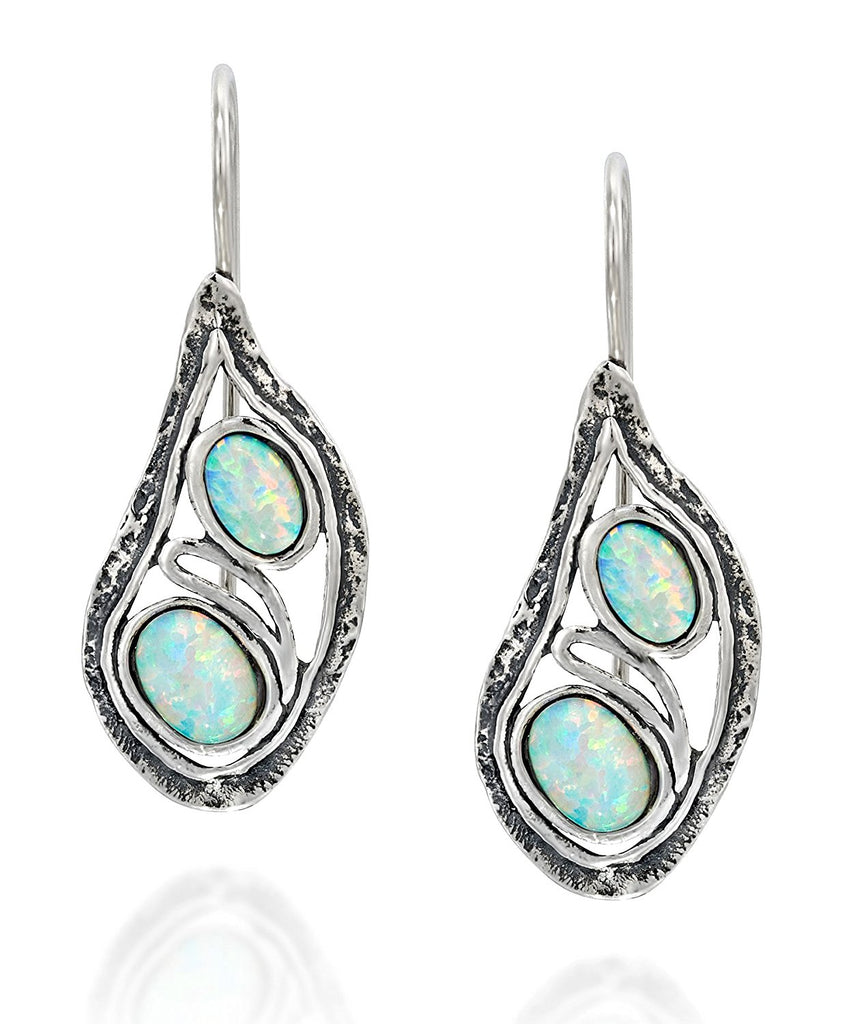 fbc54ba56 925 Sterling Silver Teardrop Earrings with Two Created Opals Elegant Free  Form Unique Artisan Design ...