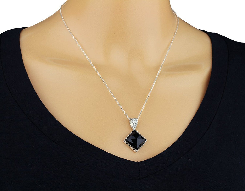 "Silver Necklace With Black Onyx Diamond Shaped Pendant, 18"" + 4"" Extender"