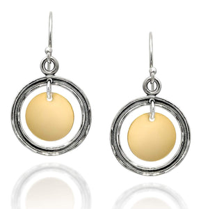 women's two tone dangle earrings