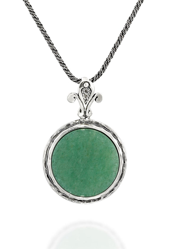 925 Sterling Silver 18 mm Green Aventurine Pendant Necklace, 20
