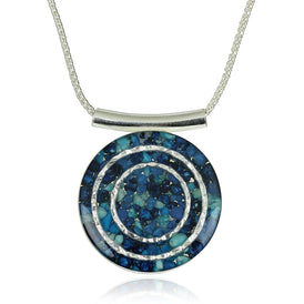"Unique Shades of Blue Gemstone Pendant 925 Sterling Silver Cluster Necklace, 18"" + 4"" Extender"