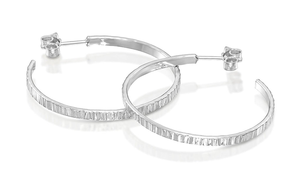 Classic Textured 925 Sterling Silver Large Hoop Earrings with Post & Butterfly Fastening