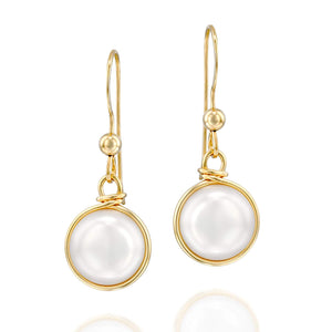 Stera Jewelry 14k Gold Filled Hand Wrapped 10mm Cultured Pearl Earrings Weddings & Bridesmaid Gifts