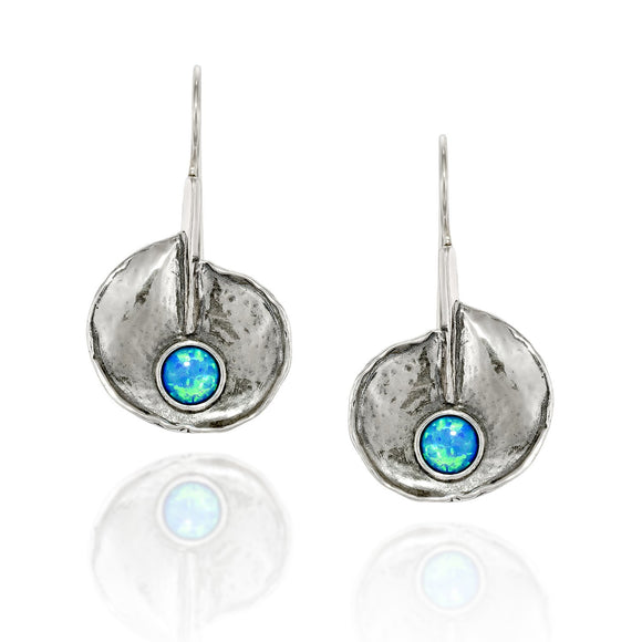 Lotus Leaf 925 Sterling Silver Earrings with Created Blue Fire Opal and Secure Closure Wire & Hook Backs