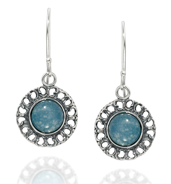 Round 925 Sterling Silver Blue Quartzite Earrings with Filigree Hearts - Please contact shop