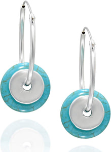 "Stera Jewelry 925 Silver 1"" Endless Hoop Earrings with Washer Shaped Compressed Turquoise Beads"
