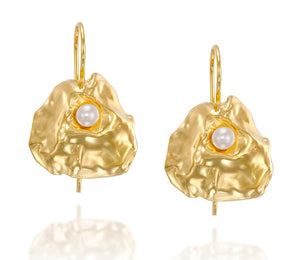 Unique Bridal Wedding Jewelry Gold Pearl Earrings With Secure Backs