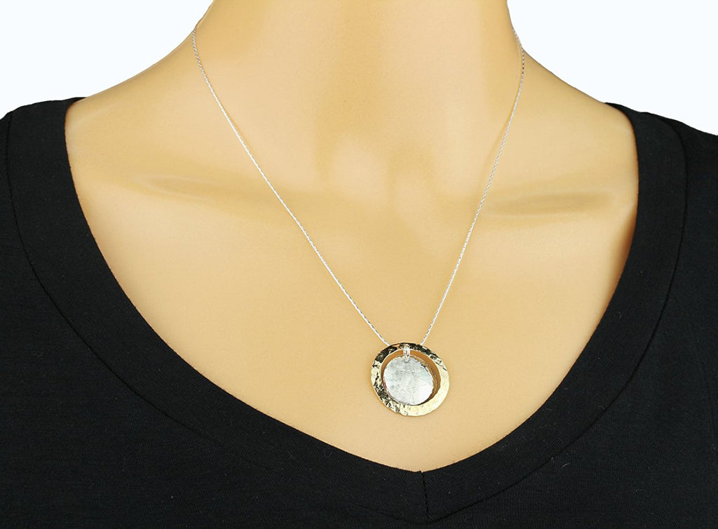 "Hand Hammered Silver & Gold Domed Disc Pendant Necklace, 18""+4"" Extender"