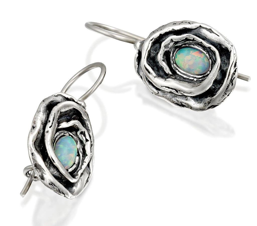 Vintage Style Rose Earrings in 925 Sterling Silver with Created White Opal and Wire & Hook Secure Backs