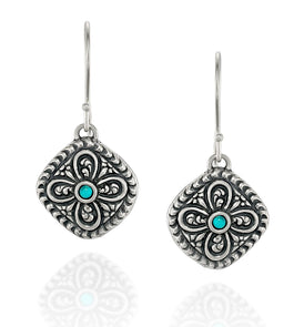 Antique Style 925 Sterling Silver Turquoise Earrings Diamond Shaped With Ornate Floral Design