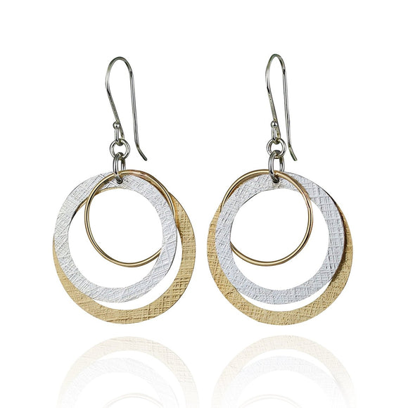 Large Silver & Gold Multi Hoop Dangle Earrings Handmade Women's Jewelry