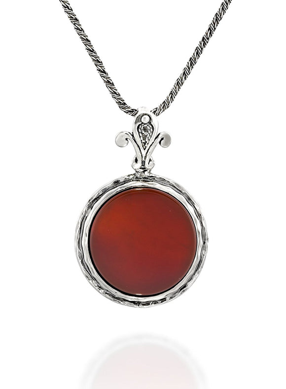 Silver 18 mm Carnelian Pendant Necklace, 20
