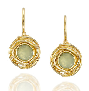 Vintage Style Gold Aqua Quartz Earrings with Swirl Design & Secure Backs