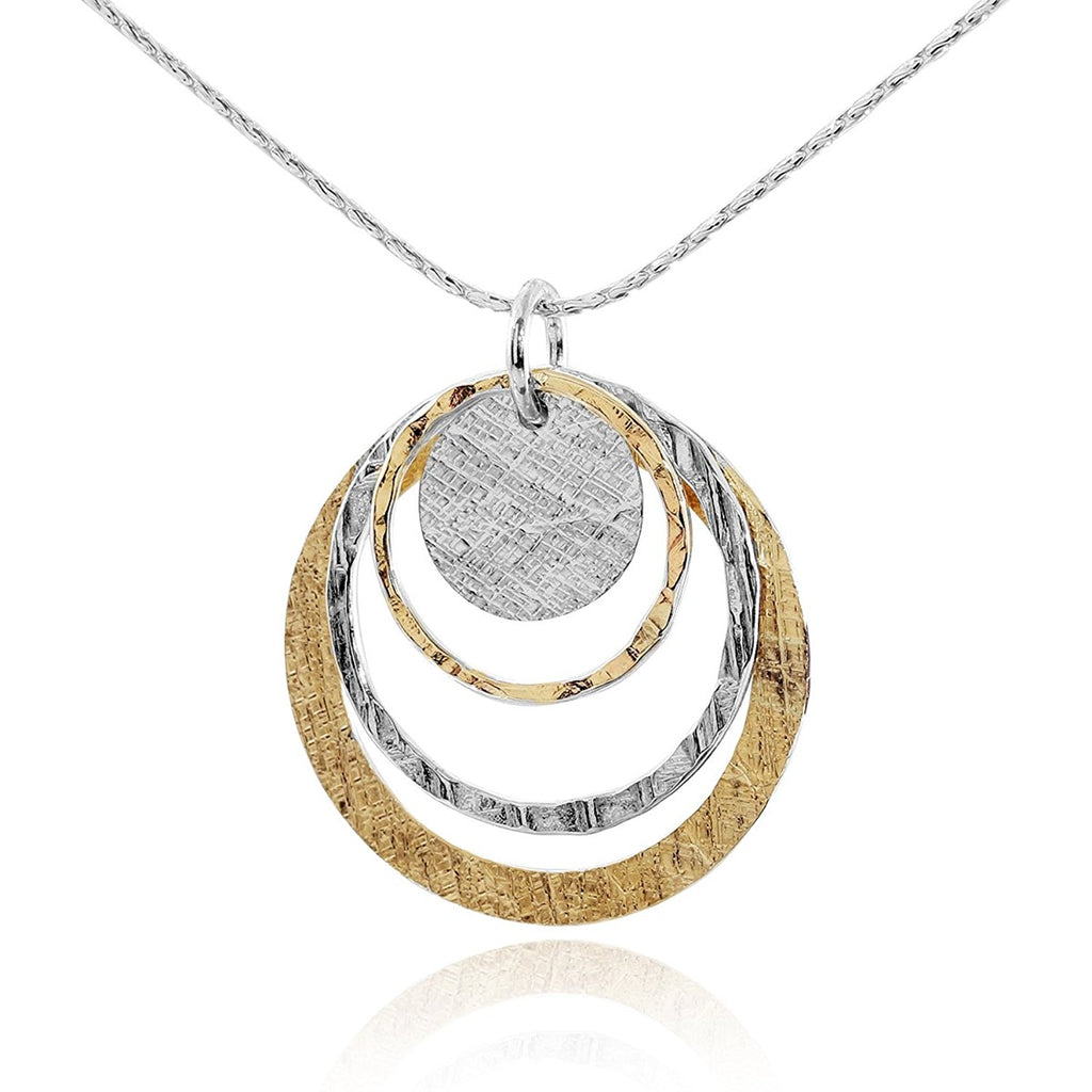 Handmade Women's Silver & Gold Graduated Circles Pendant Necklace, 18""