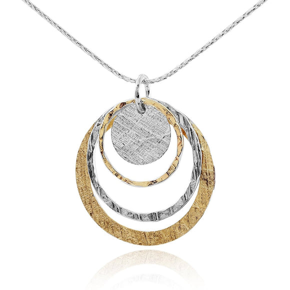 Handmade Women's Silver & Gold Graduated Circles Pendant Necklace, 18