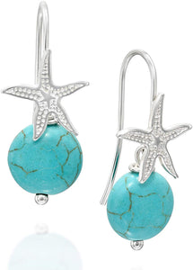 Stera Jewelry 925 Sterling Silver Starfish Earrings with Compressed Turquoise Beads for Women Teens