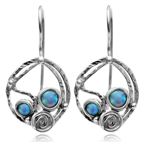 Elegant Round 925 Sterling Silver Drop Earrings with 2 Created Opals and Spiral Design