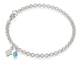 925 Sterling Silver Charm Bracelet with Created Blue Fire Opal Bead and Hamsa Hand of God Charms, 7.25""