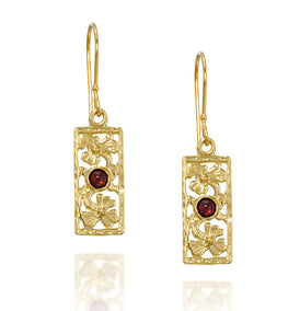 Garnet Gemstone Gold Rectangle Earrings with Decorative Floral Design
