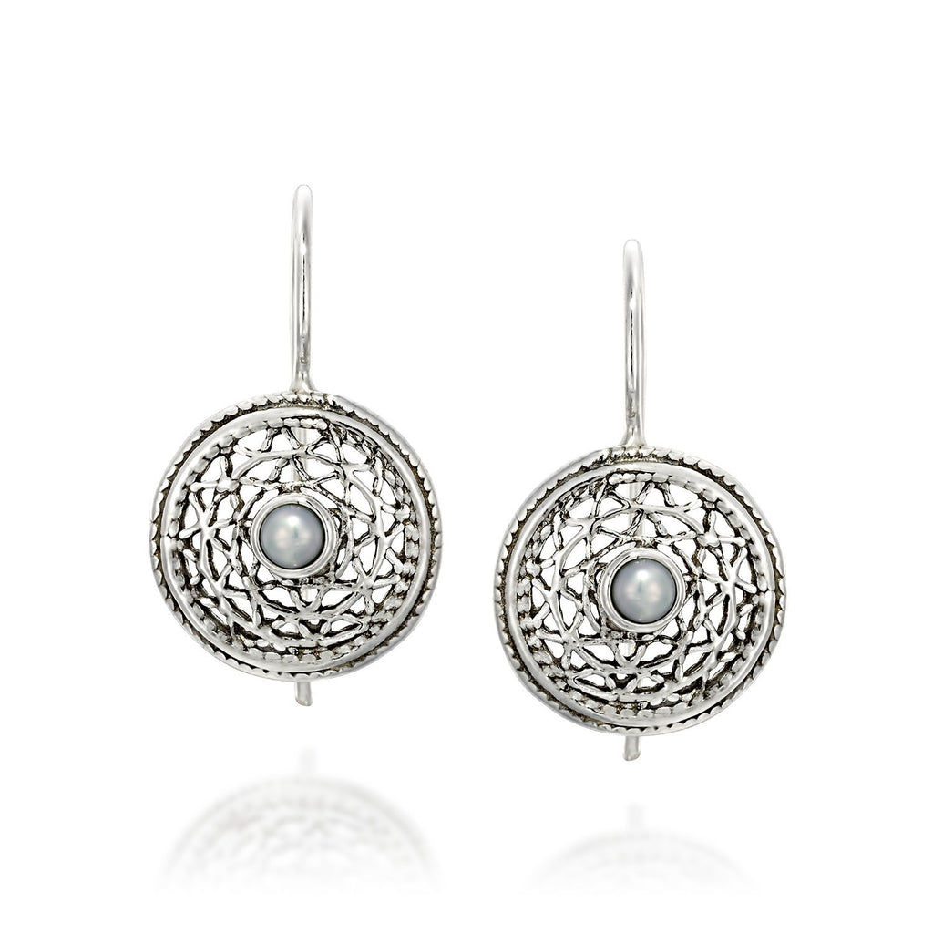 Antique Style 925 Sterling Silver Round Filigree Women's Earrings with Cultured Pearls and Secure Backs