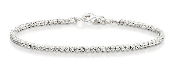 Rhodium Plated Diamond-Cut 925 Sterling Silver 2.5 mm Beads Bracelet, 7