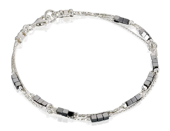 Stylish Triple Strand 925 Sterling Silver Bracelet with 2x2 mm Cube or Square Hematite Bead Stations, 7