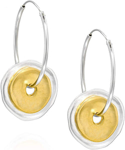 Stera Jewelry 925 Sterling Silver 30mm Endless Hoop Earrings with Two Tone Matte Finish Circles