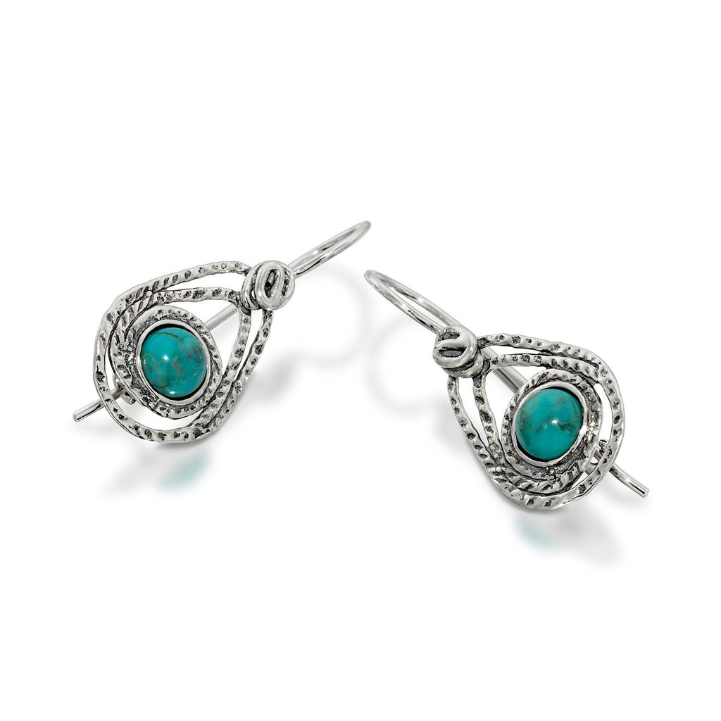 Teardrop Earrings in 925 Sterling Silver and Turquoise with Secure Backs Elegant Women's Jewelry