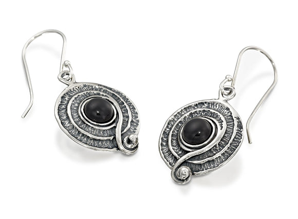 Vintage Style 925 Sterling Silver Choice of Gemstone Earrings with Decorative Spiral or Swirl Design
