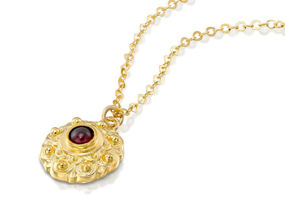 Red Garnet Gemstone Flower Pendant Gold Plated Silver Necklace, 18