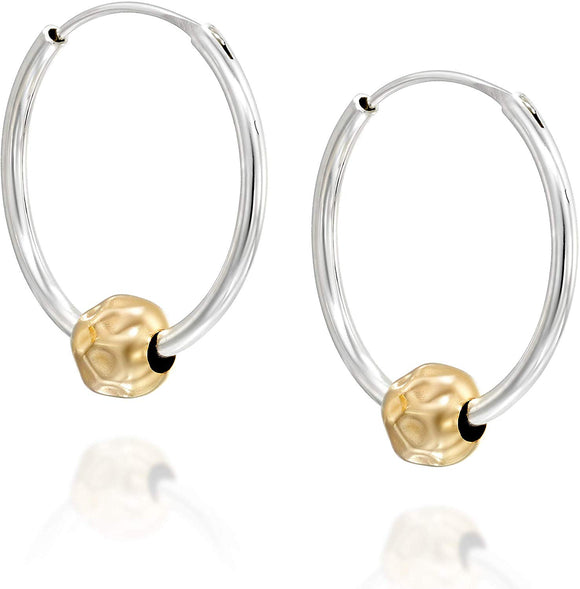 Stera Jewelry Girl's 925 Sterling Silver 20mm Endless Hoop Earrings with 14k Gold Filled Beads