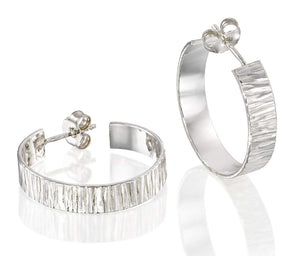 Women's Classic Textured 925 Sterling Silver Wide Hoop Earrings with Post & Butterfly Backs