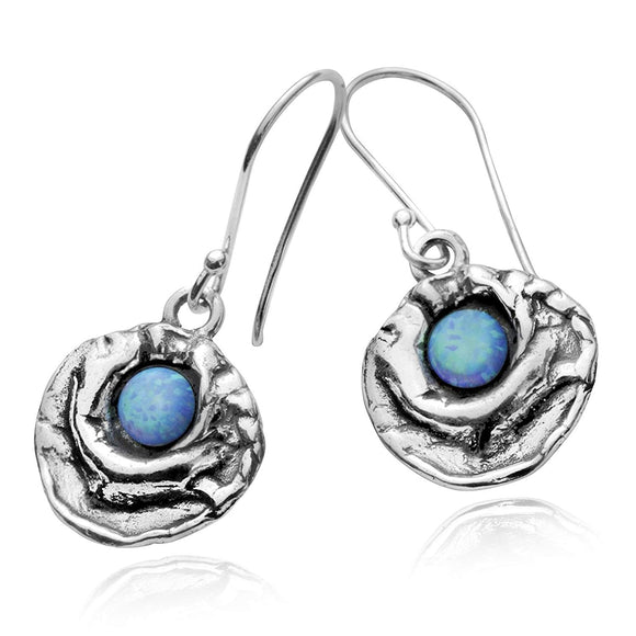 Stera Jewelry Contemporary Free Form Design 925 Sterling Silver Created Blue Fire Opal Earrings