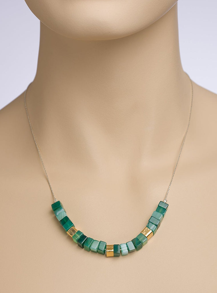 "Sterling Silver Green Agate Square Bead Necklace, 18"" + 4"" Extender"