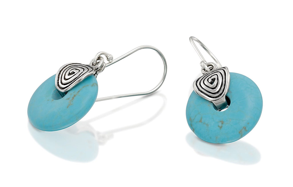 Vintage Style 925 Sterling Silver Dangle Earrings with Round Wheel Shaped Reconstituted Turquoise