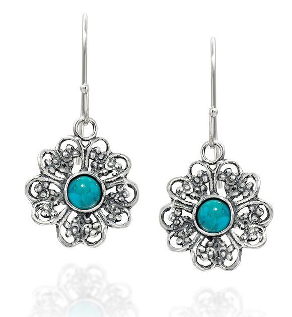 Filigree Flower 925 Sterling Silver Dangle Earrings with Choice of Gemstones Stylish Women's Jewelry
