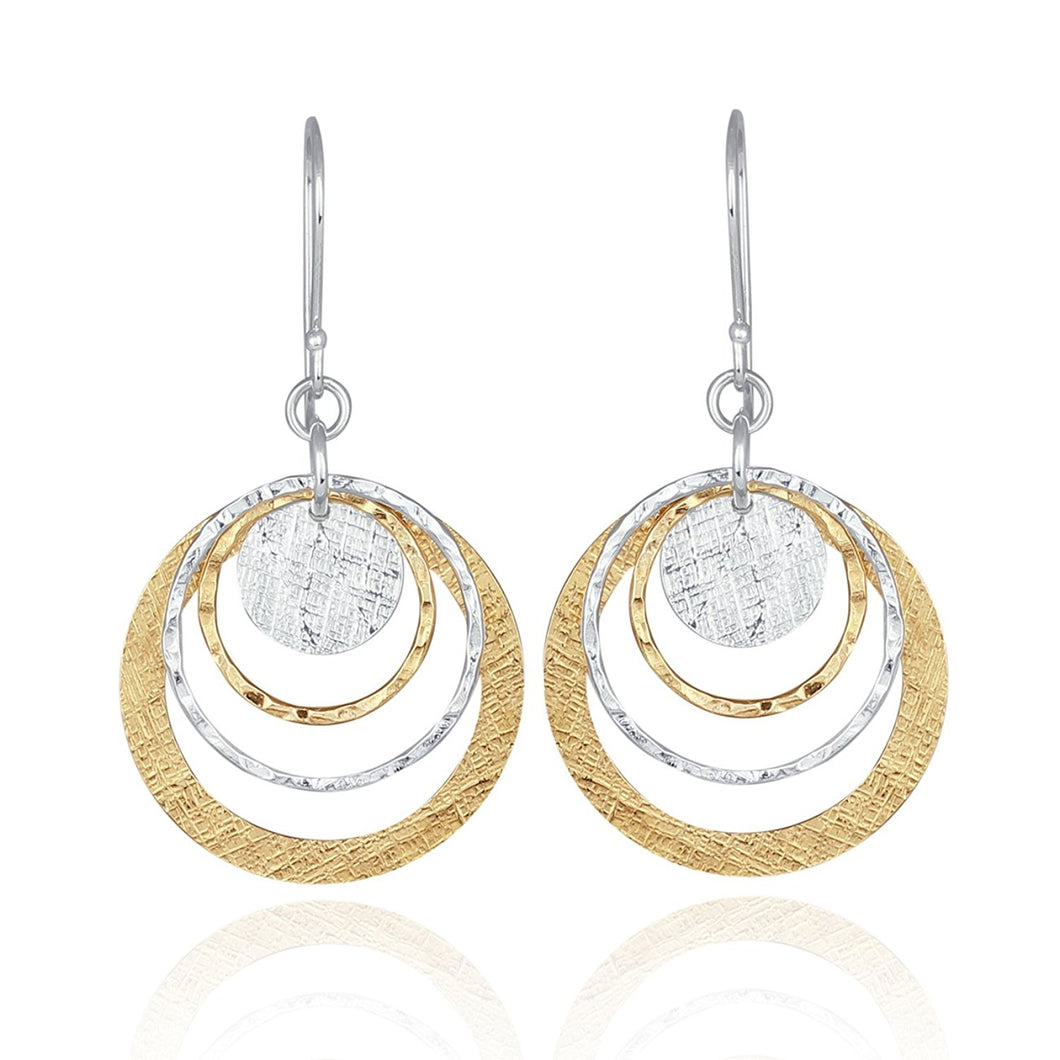 Two Tone Earrings Graduated Textured Discs 14k Gold Filled & 925 Sterling Silver Dangle Earring K9f9Zq