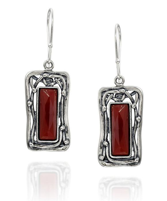 Retro Vintage Style 925 Sterling Silver Carnelian Gemstone Rectangle Women's Dangle Earrings