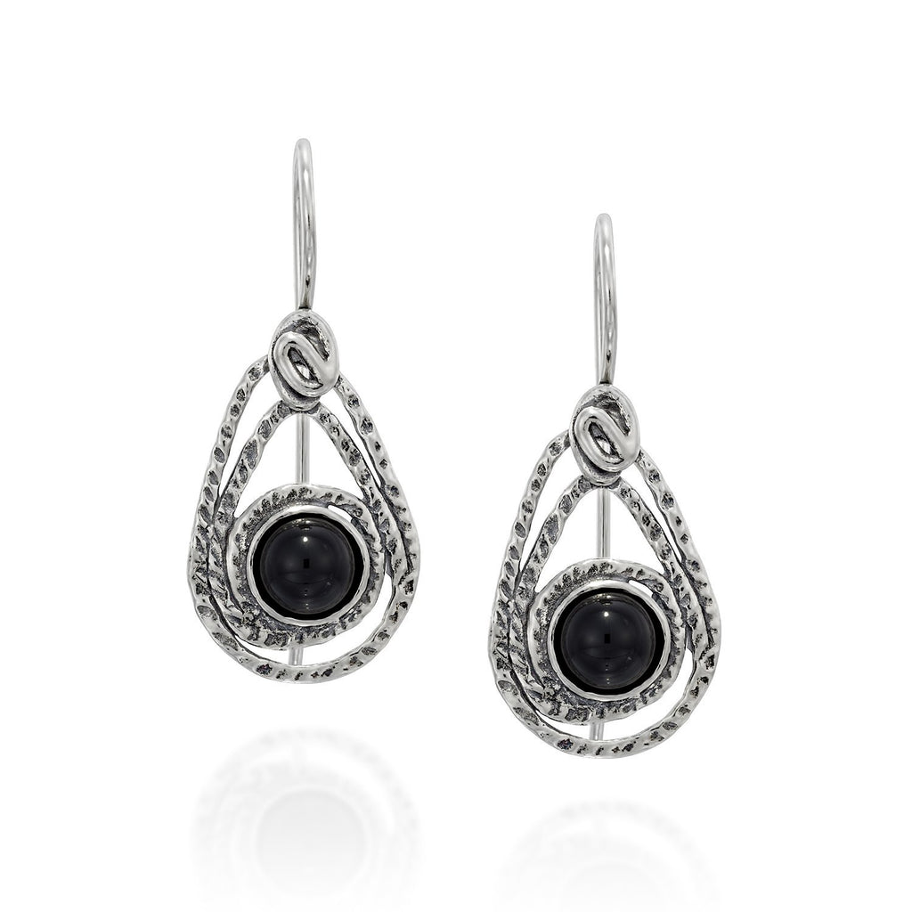 Teardrop Earrings in 925 Sterling Silver & Black Onyx Gemstone with Secure Backs Elegant Women's Jewelry