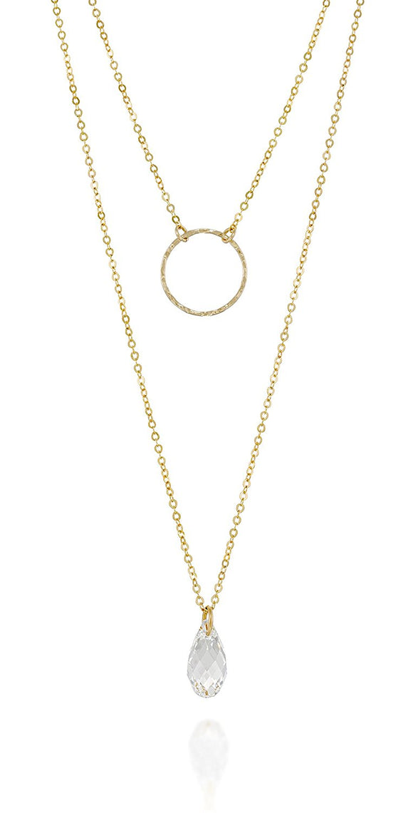 Multilayer Swarovski Crystal & Circle Pendants Gold Necklace, 20