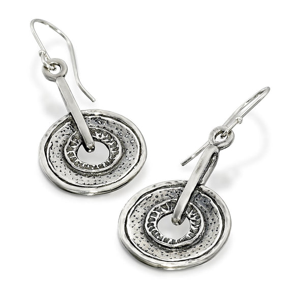 Retro Design Round Circle Earrings with French Wire Ear Hooks 925 Sterling Silver Women's Jewelry