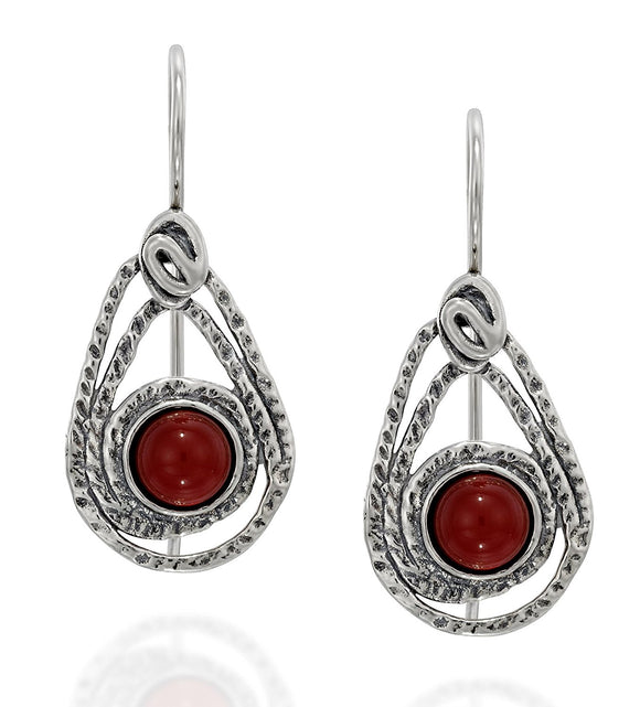 Teardrop Earrings in 925 Sterling Silver and Carnelian Gemstone with Secure Backs Elegant Women's Jewelry