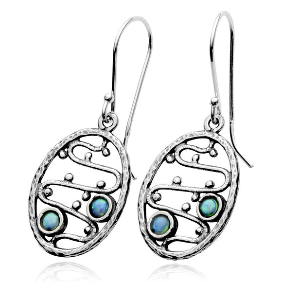 Unique Design Oval 925 Sterling Silver Dangle Earrings with Created Opal
