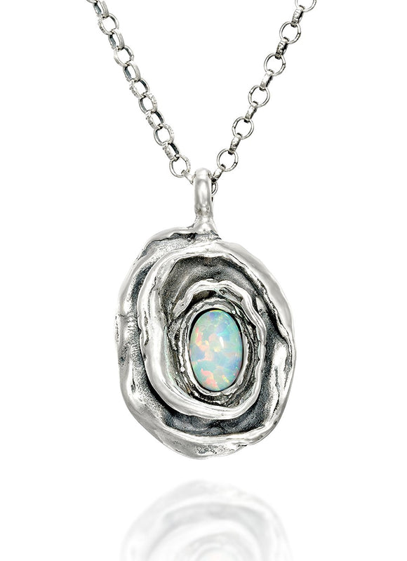 Rose Pendant Necklace with Oval Created White Opal 925 Sterling Silver Women's Necklace, 18