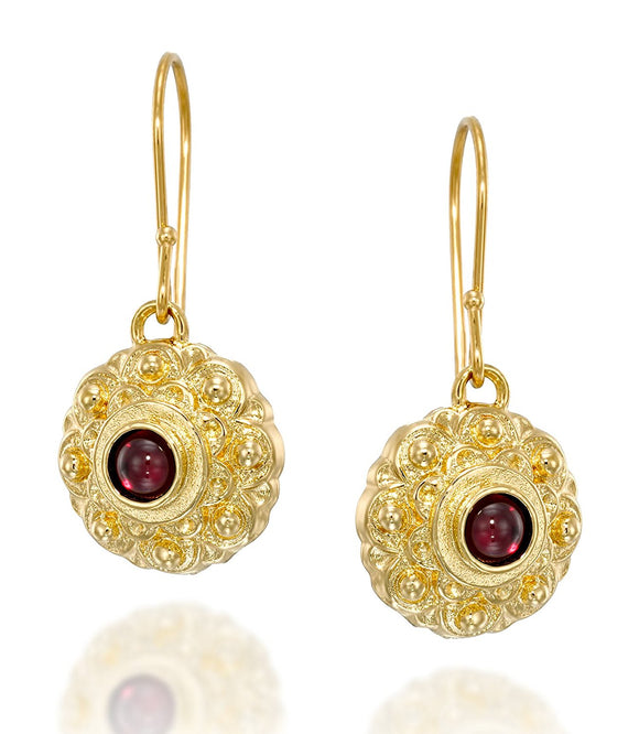Antique Style Flower Dangle Earrings with Garnet Gemstone in 14k Gold Plated Sterling Silver Women's Jewelry